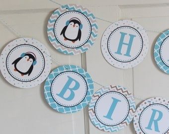 PENGUIN WONDERLAND Birthday or Baby Shower Party Banner aqua taupe - Party Packs Available