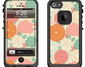 Lifeproof iPhone 6 Fre, LifeProof iPhone 5 5S 5C Fre Nuud, Lifeproof iPhone 4 4S Fre Case Decal Skin Cover - Summer Floral Pattern