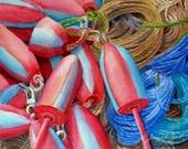 Fishing Buoys Original Watercolor Painting 8x10 Nautical Marine Art by Janet Zeh