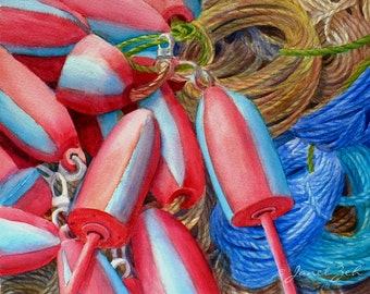 Fishing Buoys Original Watercolor Painting 8x10 Nautical Marine Art by Janet Zeh Original Art