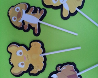12 Lion King cupcake toppers, baby shower decoration