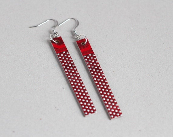 Statement earrings - Circuit board earrings - geekery - Red dotted earrings - recycled computer