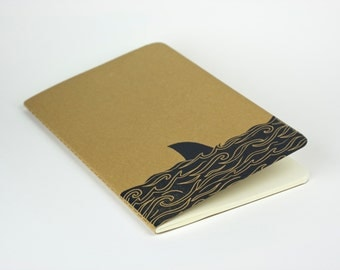Shark fin Cover Travel Journal. Great White, Jaws Cover Design 鮫 medium size journal with inner pocket
