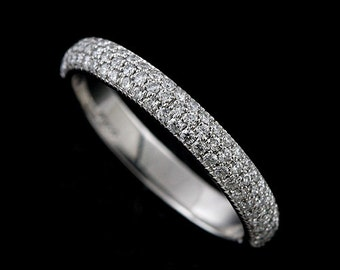 Three Row Diamonds Half Way Diamond Wedding Ring, Dome Rounded Conflict Free Platinum Women's Wedding Band, Micro Pave Multi Row Band 3.3mm