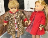 "18"" Doll Clothes -American Girl Doll -Our Generation Doll  - Doll Coat - Reversible Red & Leopard Print Corduroy Coat for 18"" doll"