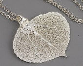 Sterling Silver Leaf Necklace, Sterling Silver Dipped Real Aspen Leaf Pendant, Large Leaf Necklace, Woodland Jewelry