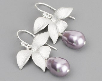 Pearl Bridesmaid Earrings - Silver Flower Earrings - Mauve Lavender Swarovski Pearl Drop Earrings - Bridal Jewelry - Wedding Jewelry