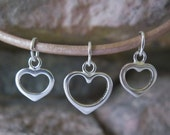 3 Open Heart Charms Sterling Silver 2 sizes 8.5MM to 11.5MM