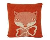Decorative Pillow - Mrs.Fox - soft knitted pillow - orange, ecru, 18x18, includes insert