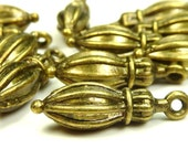 10 Tapered Charms or Pendants  Antique Dark Gold Tone Metal 19x6mm - Drops - BM3