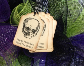 Halloween Favor tags- personalized Halloween tags- skull and cross bones favors-set of 12
