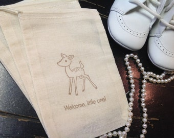 Deer muslin bags- Fawn favors-baby shower decorations-Baby animal treat bags-Set of 10