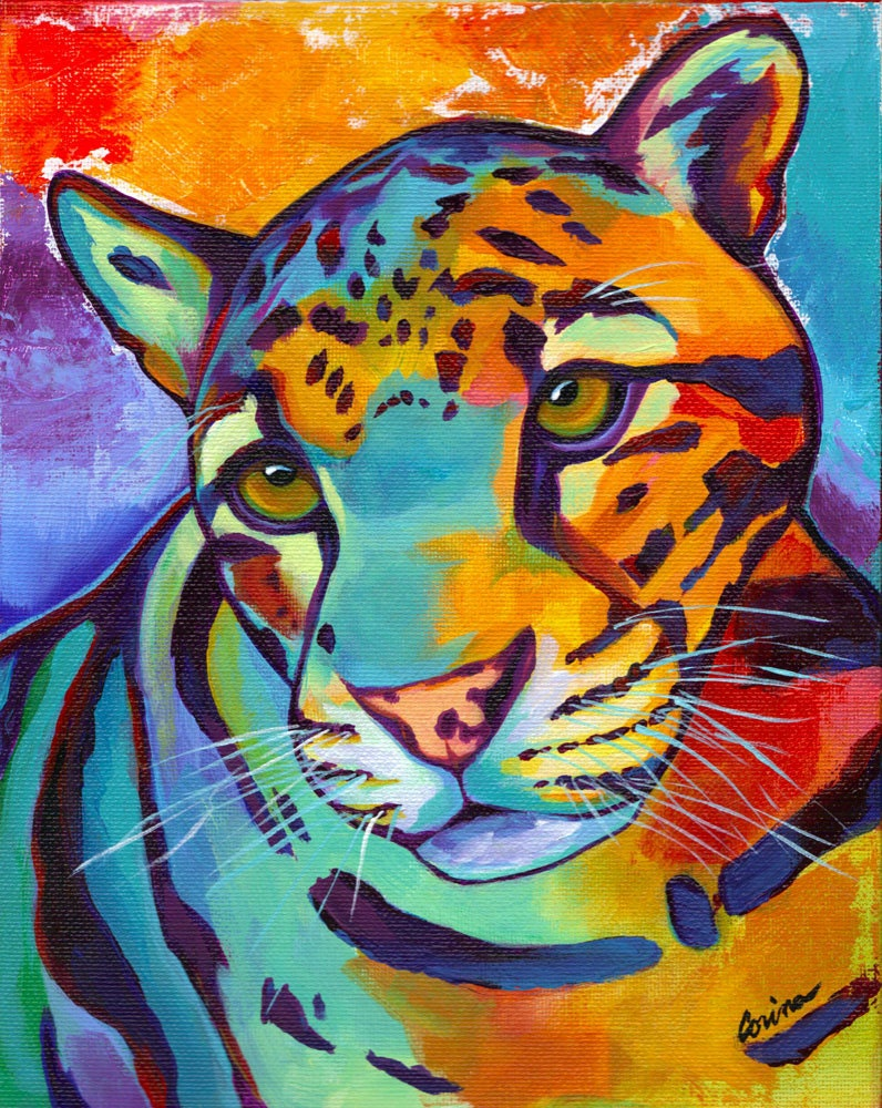 Clouded Leopard Original Big Cat Giclee By Corinastmartinart