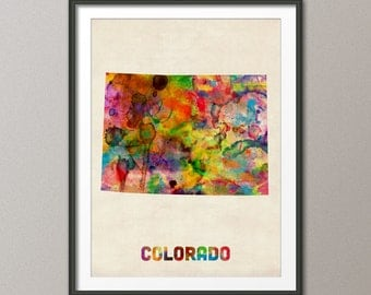 Colorado Watercolor Map USA, Art Print (372)