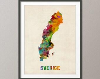 Sweden Watercolor Map (Sverige), Art Print (452)