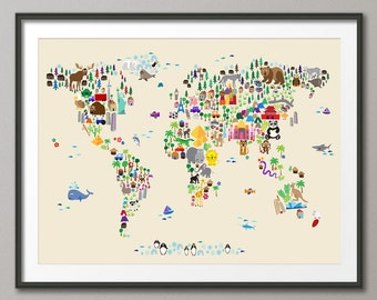 Animal Map of the World Map for children and kids, Art Print (612)