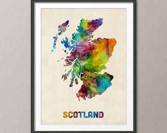 Scotland Watercolor Map, Art Print (572)