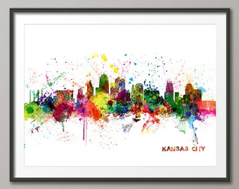 Kansas City Skyline, Kansas City Cityscape Art Print (1022)