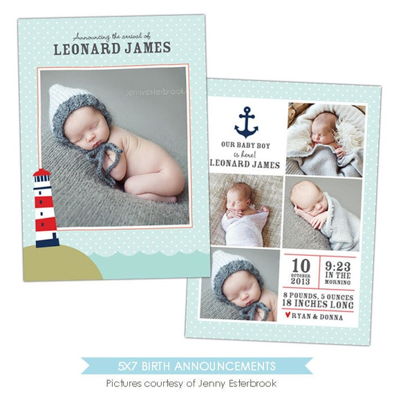 birth announcement template ocean e900 by birdesign on etsy