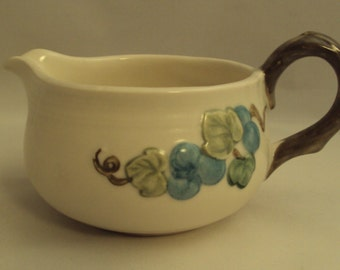 Vintage Metlox Poppy Trail Sculptured Blue Grape Gravy Boat Sauce Pitcher