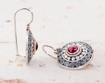 Garnet Silver Earrings, filigree earrings, January birthstone, Ethnic Earrings, Ethnic Jewelry , Fine jewelry earrings