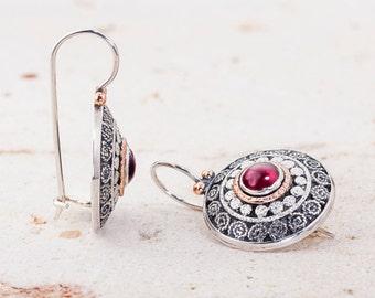 Garnet Silver Earrings, filigree earrings, January birthstone, Ethnic Earrings, Ethnic Jewelry , Fine jewelry earrings