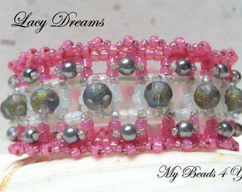 Gift For Her,Beaded Bracelet, Seed Bead Bracelet, Embellished Bracelet,Holiday Gift,Cuff Bracelet,Beaded Jewelry,Bead Pattern,Pink Bracelet