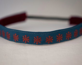 """Non Slip Headband 5/8"""" Turquoise with Coral Flowers Embroidered"""