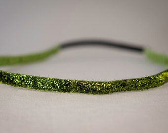 "Glitter Headband 3/8"" Lime Sparkle No Slip Headband"