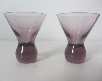 Amethyst Color Pair of Mini Martini Shot Glasses