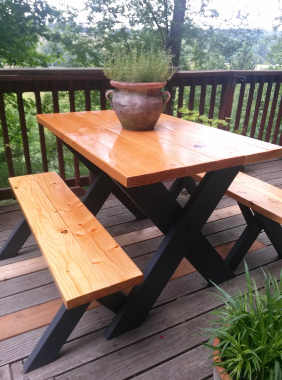 Items Similar To Classic Picnic Table W Black Legs On Etsy