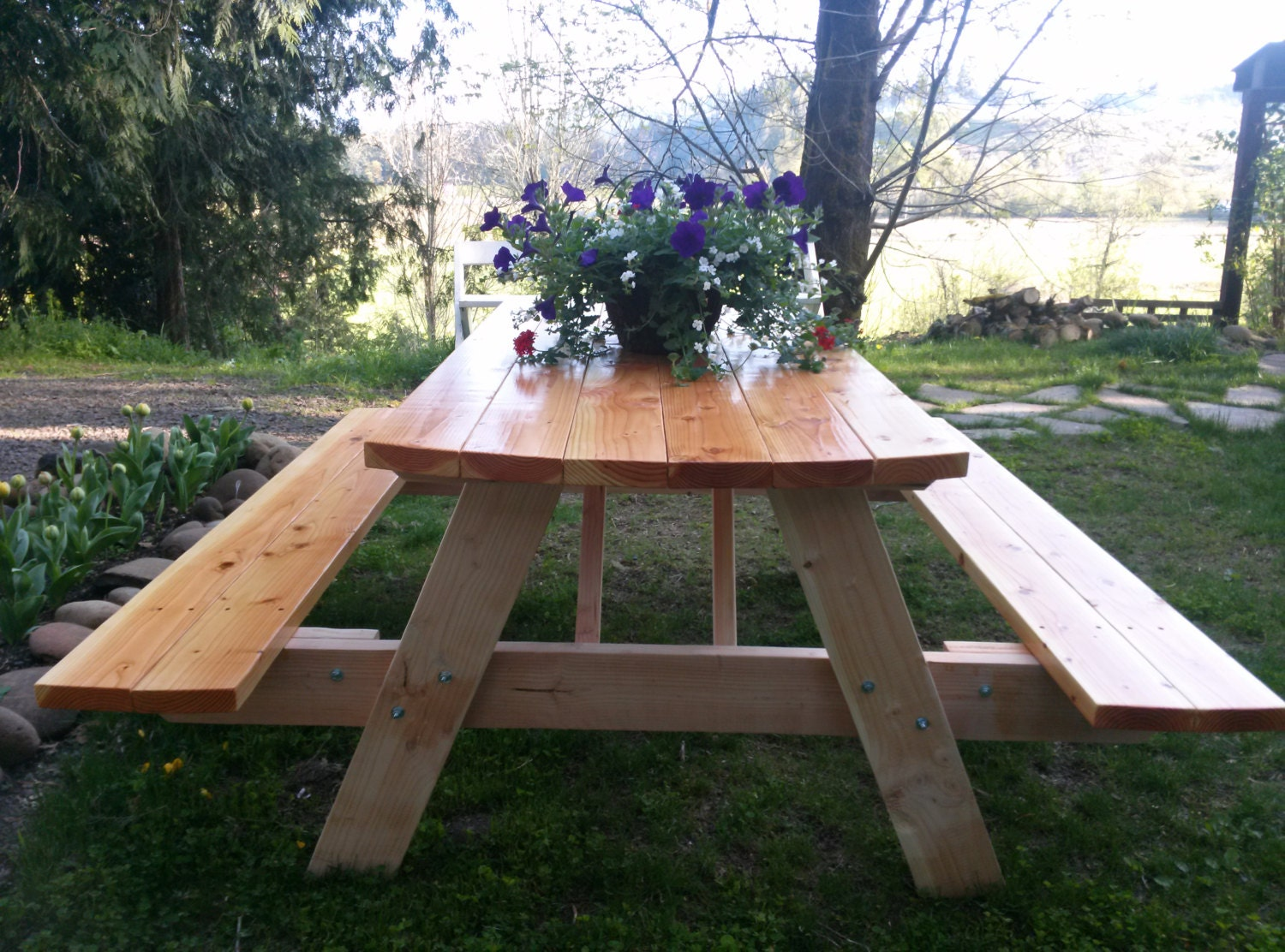 picnic table with folding benches natural wood finish. Black Bedroom Furniture Sets. Home Design Ideas
