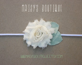 75% Off Ivory Shabby Flower Headband/ Newborn Headband/ Baby Headband/ Flower Girl/ Wedding/ Photo Prop