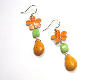 Orange and Green Flower Earrings Recycled Pop Cans 60s Style