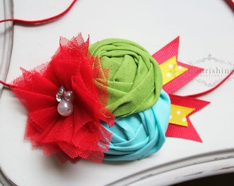 Circus Inspired Headband, red headbands, blue headbands,  summer headbands, newborn headbands, photography prop