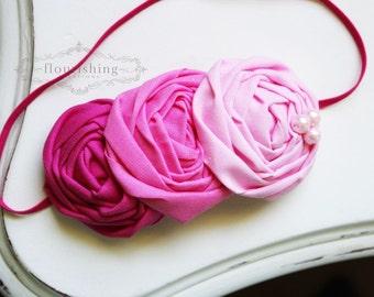 Ombre Pink Rosette headband, everyday headbands, hot pink rosette headbands, pink headbands, newborn headbands, photography prop