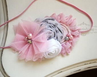Grey and Pink headband, grey headbands, newborn headbands, flower headbands, pink headbands, photography prop