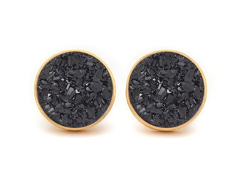 Midnight Black Drusy Quartz Studs - Gold Drusy Quartz Studs - 24k Gold Vermeil Stud Earrings