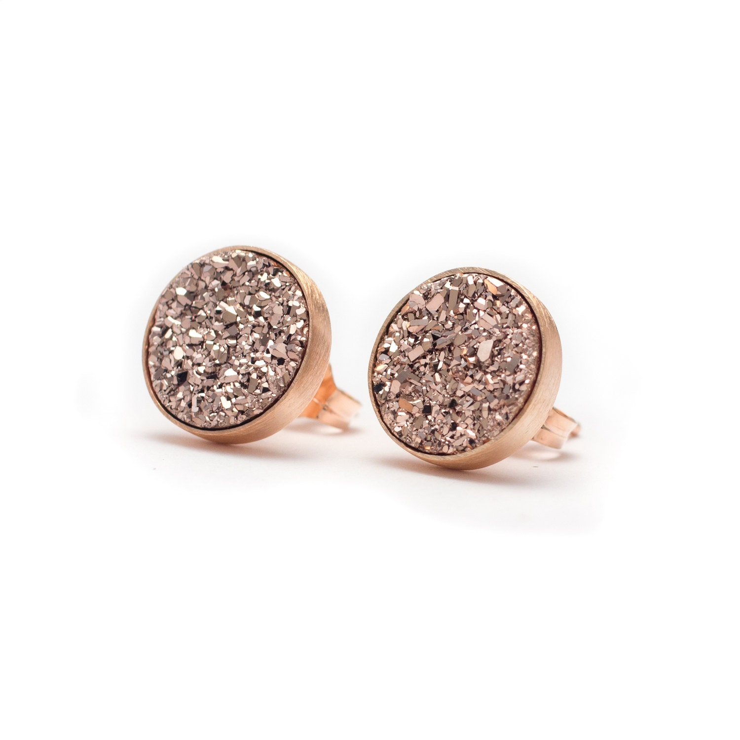 Rose Gold in Rose Gold Druzy Quartz Stud Earrings Druzy
