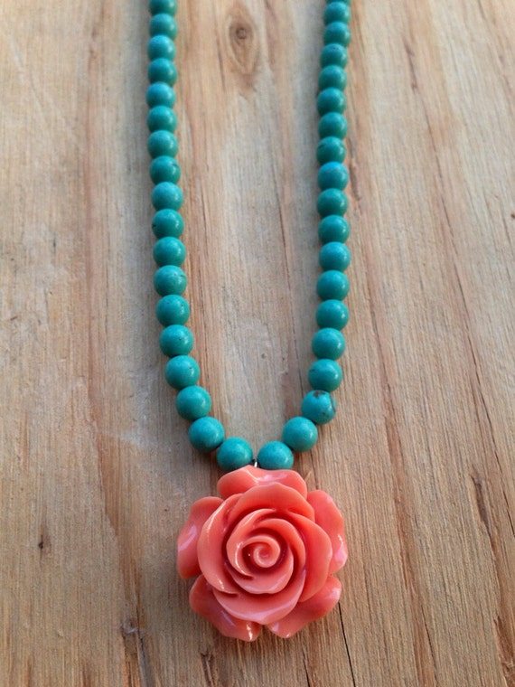 Peach and Turquoise rose necklace