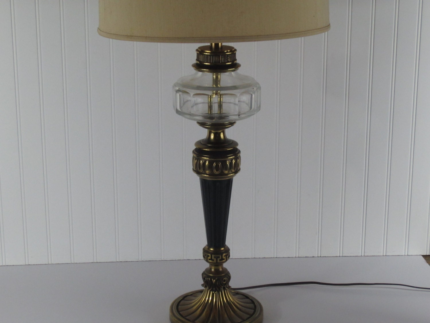 large glass brass and black vintage table lamp living room