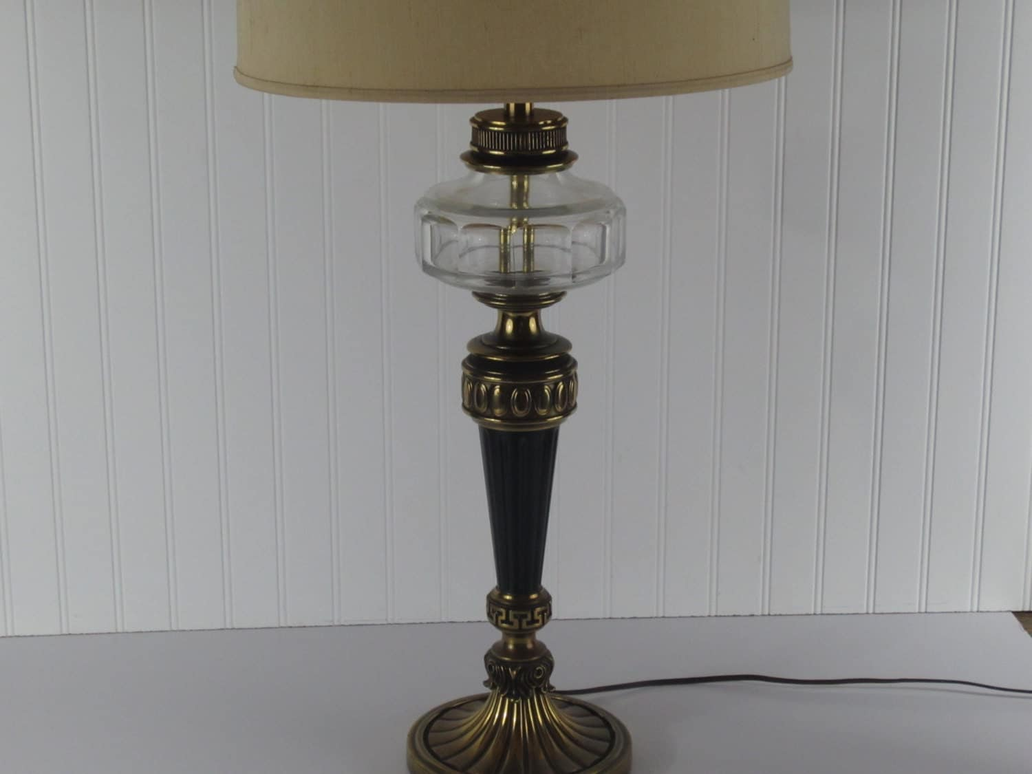 Large glass brass and black vintage table lamp living room - Black table lamps for living room ...
