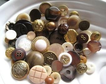 Golden Cream Vintage Button Collection - 50 unique buttons