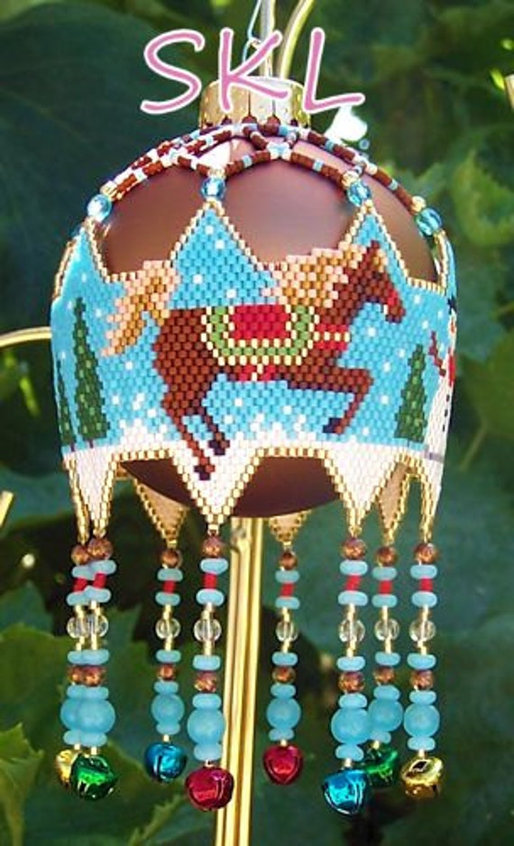 Snow Pony and Snowman woven Delica bead Christmas Ornament