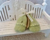Lime Green Felted Wool  Baby Booties with Yarn Edging for Trim