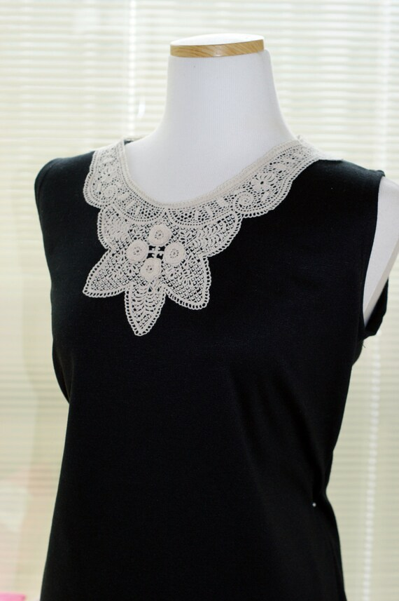 50%OFF SALE Unique design handmade  needlepoint  long collar a pieces of cloth