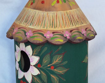 FOREST FLOWERS BIRDHOUSE, An Original, Collectible Birdhouse Hand Painted In Folk Art Designs