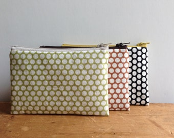 Coin Purse, White Polka Dots on Lime Green, Small Zipper Pouch