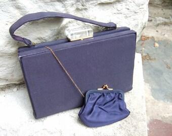 1950s Lucite Clasp Midnight Blue Cloth Handbag