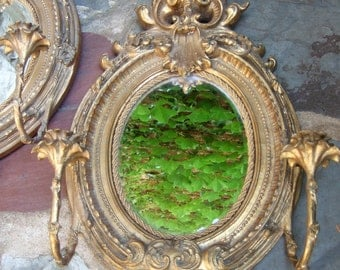 Ornate Gilded French Style Scrolled Rococo Oval Mirrors c 1940